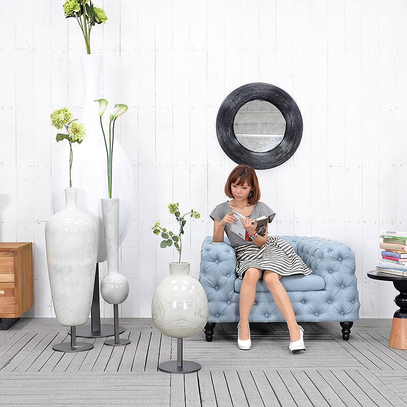 ★送料無料 HPフラワーベース(ホワイト)#GB14047 あす楽対応! アジアン家具 雑貨 花瓶 壺 つぼ 木製 インテリア 花台