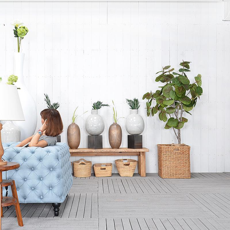 ★送料無料 HPフラワーベース(ホワイト)#GB14051 アジアン家具 雑貨 花瓶 壺 つぼ 木製 インテリア 花台
