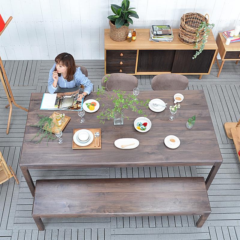 ★送料無料 【ウェハ】ダイニングテーブル 91071 ダイニング テーブル table 木製 北欧 食卓 ウォールナット ウォルナット おしゃれ dining 無垢材 机 木製 8人掛け  通販