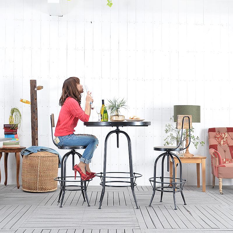 ★送料無料 【スリ】カウンターテーブル バーテーブル 円形 丸型 木製 メタル 丸型カウンターテーブル コーヒーテーブル ハイテーブル カフェテーブル カウンター ブラック ブラウン