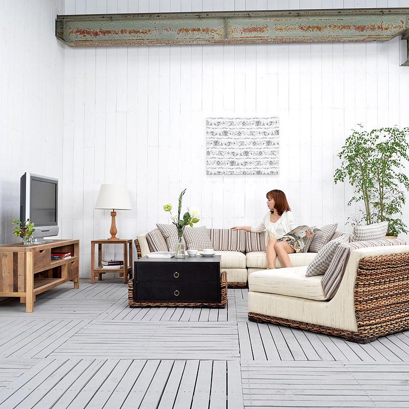 ★送料無料 ジュート【ベタ】コーヒーテーブル アジアン家具