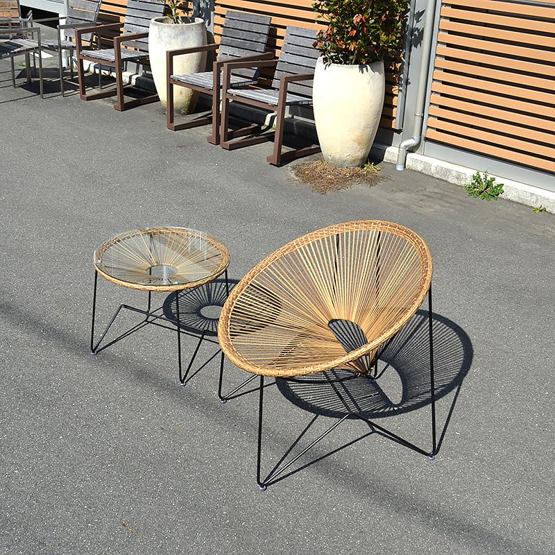 送料無料 シンセティックラタン【リング】チェアテーブル 北欧 モダン アジアン家具 アウトドア家具 ガーデン家具 テラス家具 屋外 ソファ チェア 椅子 イス テーブル コーヒーテーブル シンプル ローテーブル