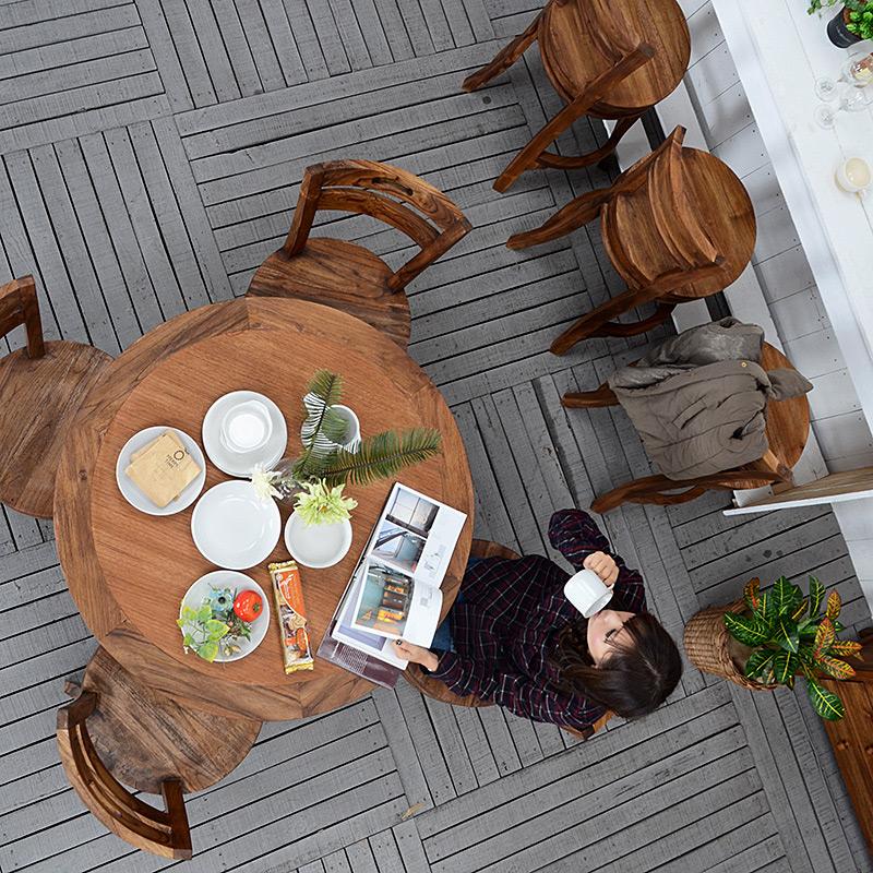 送料無料 アジアン バリ 5点セット 食卓 家具 ダイニングセット ダイニング 木製 チーク材 おしゃれ アジアン家具 バリ家具 リゾート ナチュラル ホテル チーク【サクラ】ラウンドダイニング5点セット