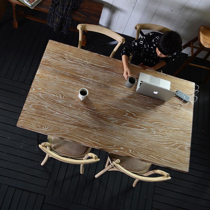 ★送料無料 【フレジエ】ダイニングテーブル1500(PJT448) アジアン家具古木 テーブル 机 デザイナーズチェアー メタルフレーム ダイニング 北欧 シンプル モダン ブラウン 黒 ブラック ナチュラル