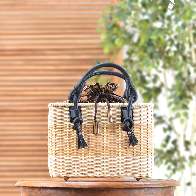 ★送料無料 ラタン・ハンドバッグ(R-HB03-BN)カバン 鞄 かばん bag バッグ ハンドバッグ かごバッグ カゴバッグ ショルダーバッグ 籠バッグ ラタン 籐 レザー 合皮