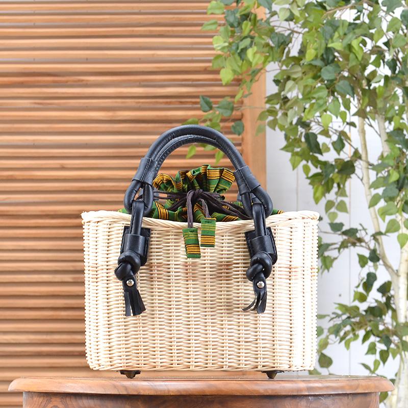 ★送料無料 ラタン・ハンドバッグ(R-HB02-GN)カバン 鞄 かばん bag バッグ ハンドバッグ かごバッグ カゴバッグ ショルダーバッグ 籠バッグ ラタン 籐 レザー 合皮