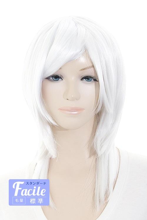 全国9店舗 登場大人気アイテム ウルフレイヤー ピュアホワイト 50色以上 コスプレウィッグ 高価値 ウルフ かつら ウィッグ ウィッグネット付 耐熱 ウイッグ wlf-1001 白 白髪