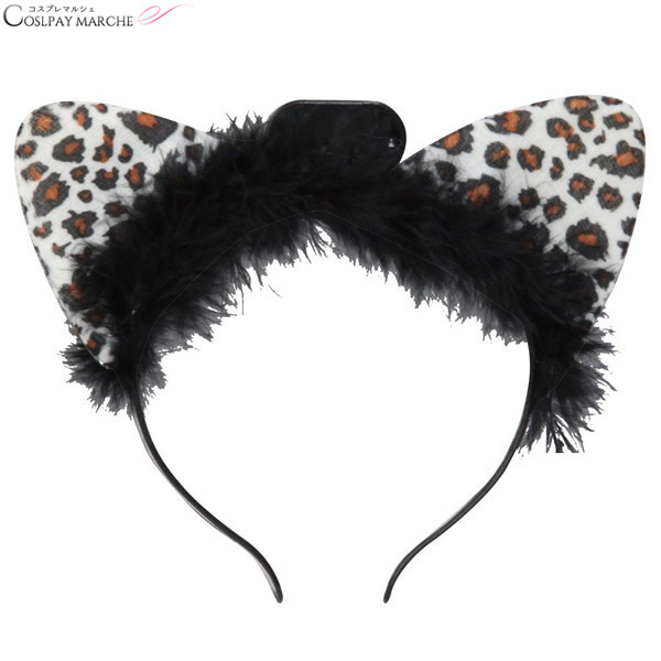 <★ coupon usable immediately> headband costume play Lady's illuminations  cat ear headband white animal pattern costume Halloween event disguise