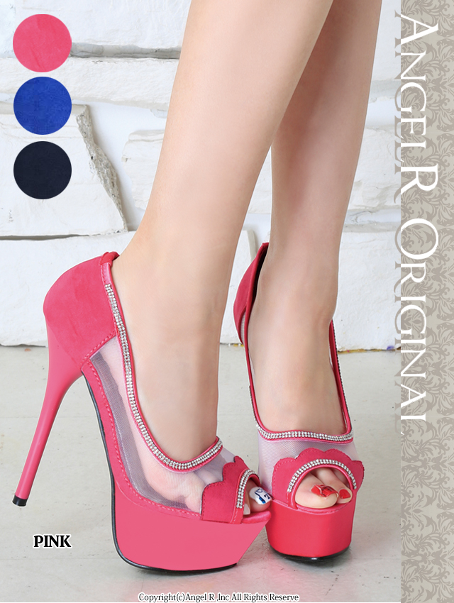 【送料無料!!】 エンジェルアールキャバ ドレス サンダル パンプス ミュール【最新作パンプス】ヒール14.5cm、キラキラ、ラインストーン、デザイン、靴(SH012)【02P03Dec16】