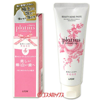 LION狮王 牙膏 Platius 丰富奶油泡沫 玫瑰香  90g creamy up Platius  LION *