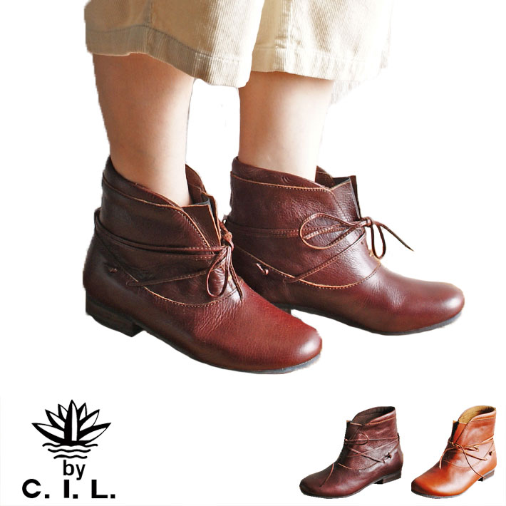 cil c.i.l. シーアイエル フロントゴア レザーショートブーツ 本革 本皮 レディース | 軽い 柔らかい 革靴 革 軽量 痛くない 疲れない 靴 幅広 ナチュラル おしゃれ かわいい 春物 コンフォートシューズ ぺたんこ シンプル 牛革 フラット 通勤