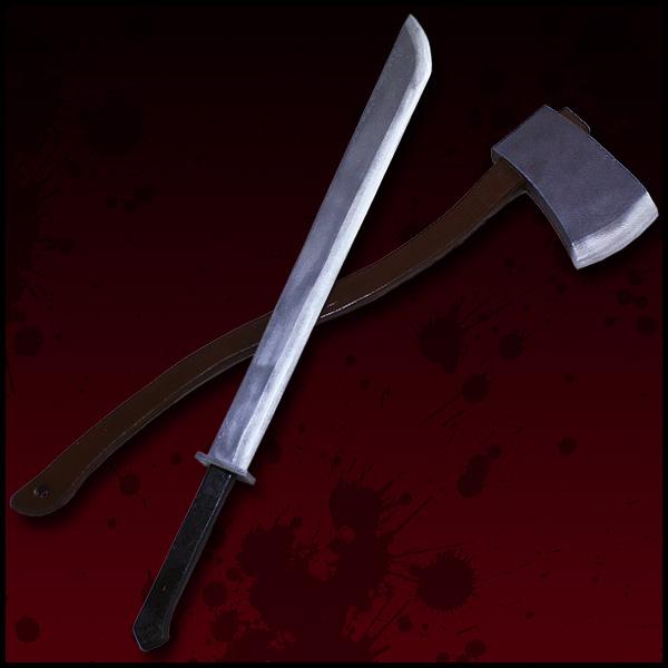 【コスプレ用小道具】HORROR美少女 山下しゅんや 13日の金曜日 フレディVSジェイソン ジェイソンの斧・鉈セット ハロウィン