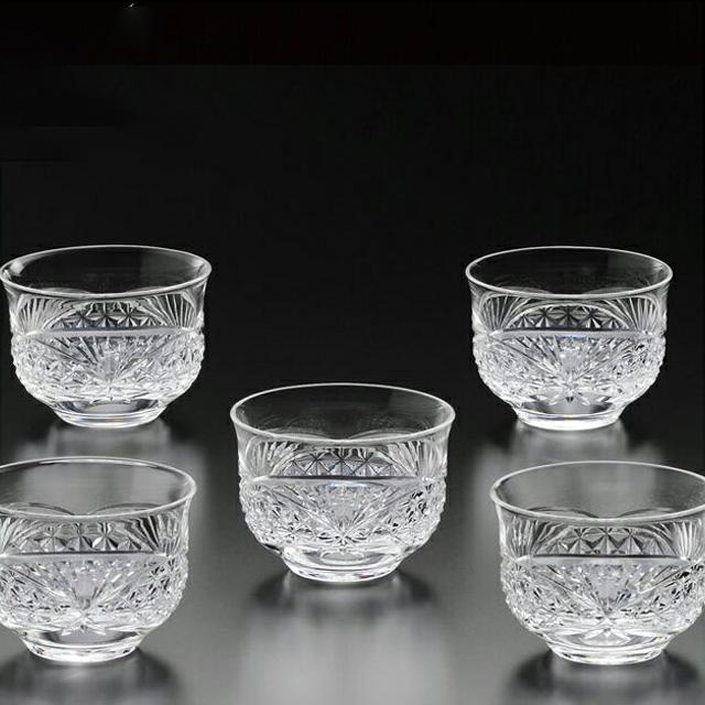 カガミクリスタル 江戸切子 冷茶碗揃<笹っ葉に麻の葉紋>180cc (TS648-2599)
