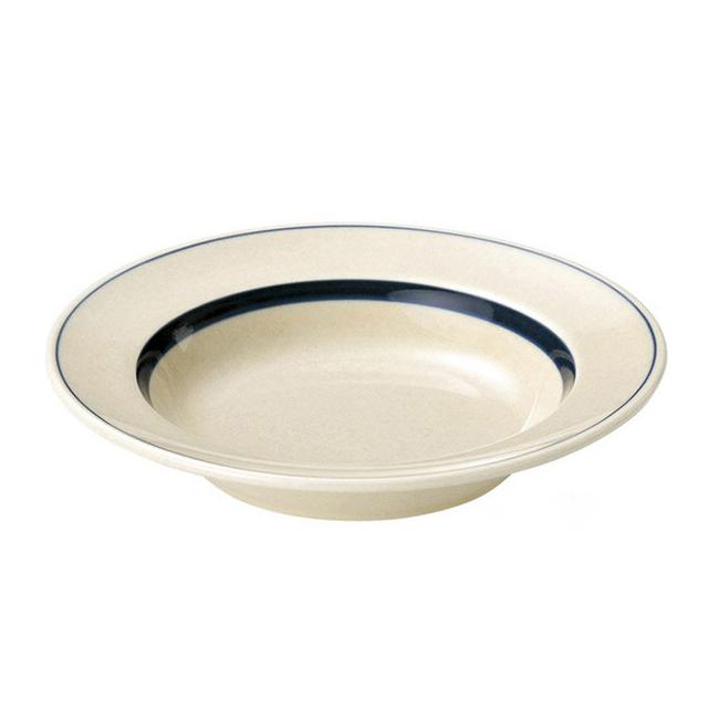 【送料無料】スープ皿 26cm 6個 カネスズ インディゴボーダー(07700815-6P)業務用
