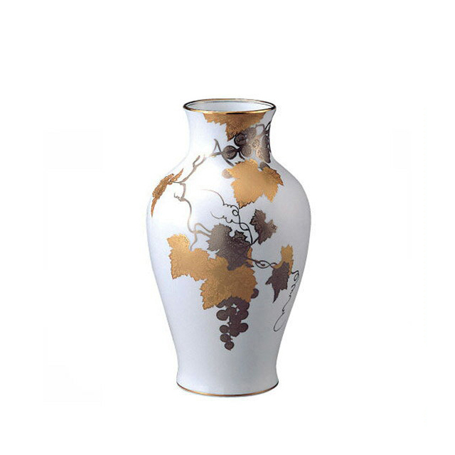 大倉陶園 金蝕ぶどう 花生 36cm (12A-1276) [大倉陶園OKURA洋食器白磁]花瓶花器[日本製]【送料無料】【ギフト】