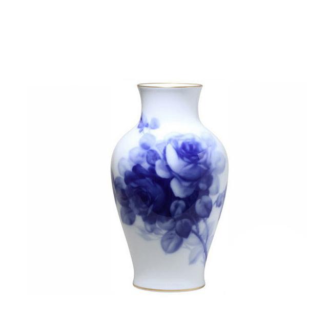 大倉陶園 ブルーローズ 花生 36cm (12A-8011) [大倉陶園OKURA洋食器白磁]花瓶花器[日本製]【送料無料】【ギフト】