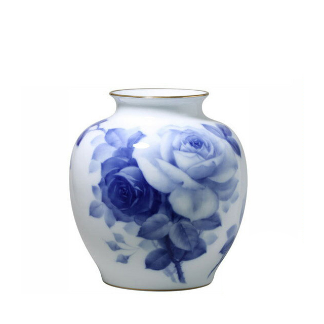 大倉陶園 ブルーローズ 花生 29cm (19A-8011) [大倉陶園OKURA洋食器白磁]花瓶花器[日本製]【送料無料】【ギフト】