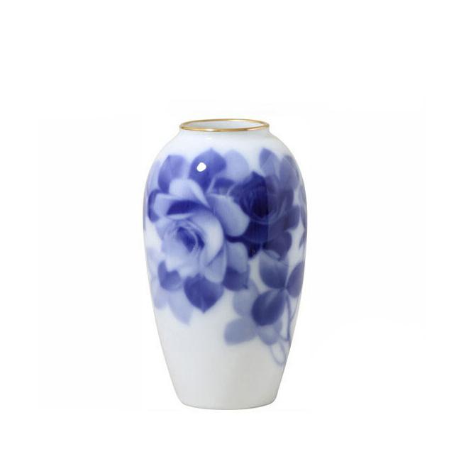 大倉陶園 ブルーローズ 花生 15cm (1A-8011) [大倉陶園OKURA洋食器白磁]花瓶花器[日本製]【送料無料】【ギフト】