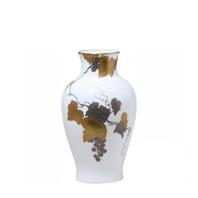 【送料無料】【ギフト】大倉陶園 金蝕ぶどう 花生 28cm (20A-1276) [大倉陶園OKURA洋食器白磁]花瓶花器[日本製]