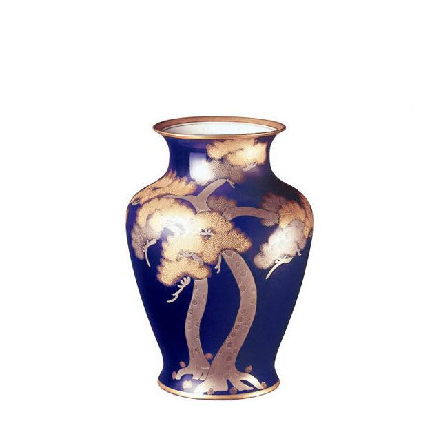 大倉陶園 瑠璃(ルリ) 金・白金蝕松 花生 45cm (24A-9156) [大倉陶園OKURA洋食器白磁]花瓶花器[日本製]【送料無料】【ギフト】