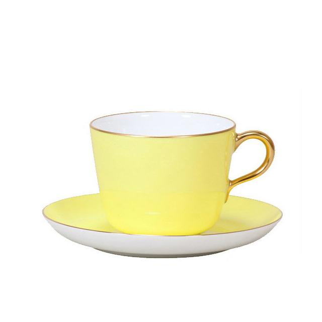 【送料無料】大倉陶園 漆蒔 イエロー モーニングカップ&ソーサー(26C-1041)(大倉陶園OKURA洋食器白磁)ギフト