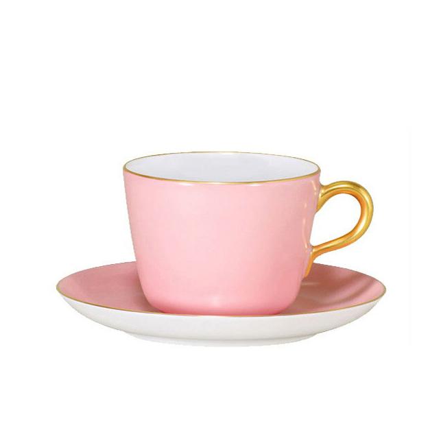 【送料無料】大倉陶園 漆蒔 ピンク モーニングカップ&ソーサー(26C-1091-1)(大倉陶園OKURA洋食器白磁)ギフト