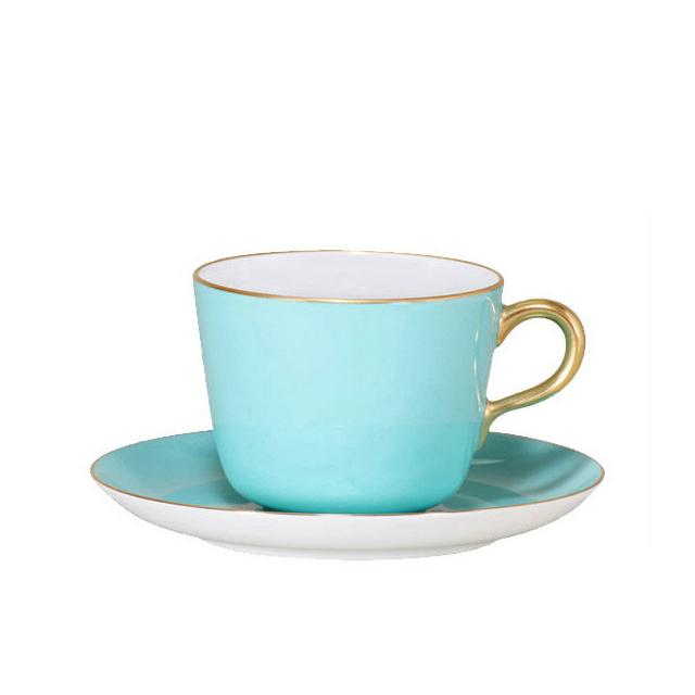 大倉陶園 漆蒔 ライトブルー モーニングカップ&ソーサー (26C-1261) (大倉陶園OKURA洋食器白磁)(日本製)(送料無料)(ギフト)