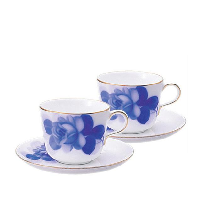 【送料無料】大倉陶園 ブルーローズ モーニングカップ&ソーサーペアセット(26CR-8211)(大倉陶園OKURA洋食器白磁)日本製 ギフト