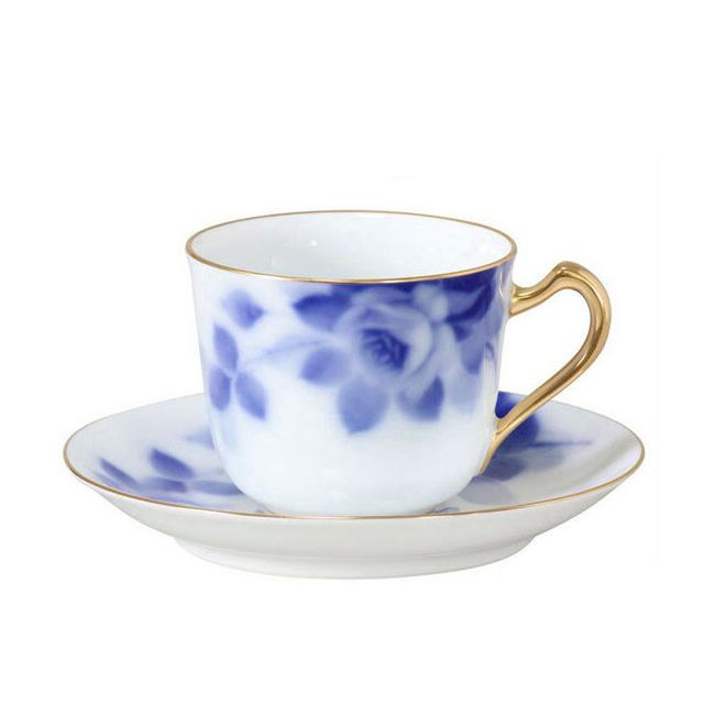 【送料無料】大倉陶園 ブルーローズ カップ&ソーサー(57C-8011)(大倉陶園OKURA洋食器白磁)(カップ&ソーサー碗皿)ギフト