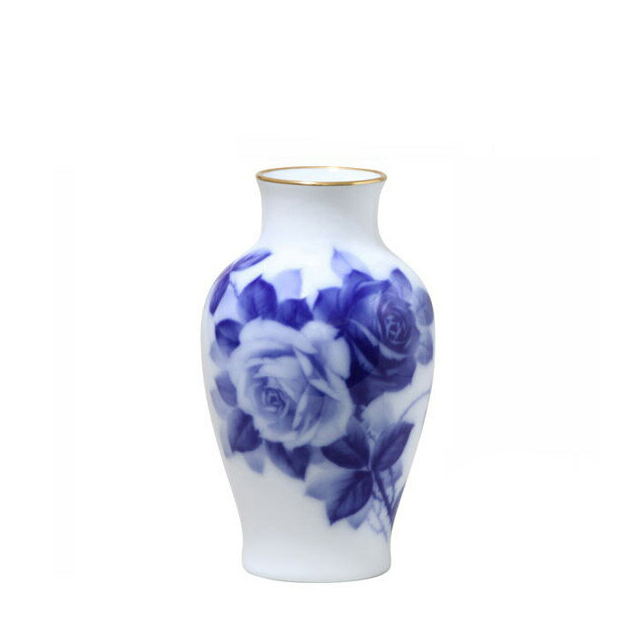 大倉陶園 ブルーローズ 花生 19cm (74A-8011) [大倉陶園OKURA洋食器白磁]花瓶花器[日本製]【送料無料】【ギフト】