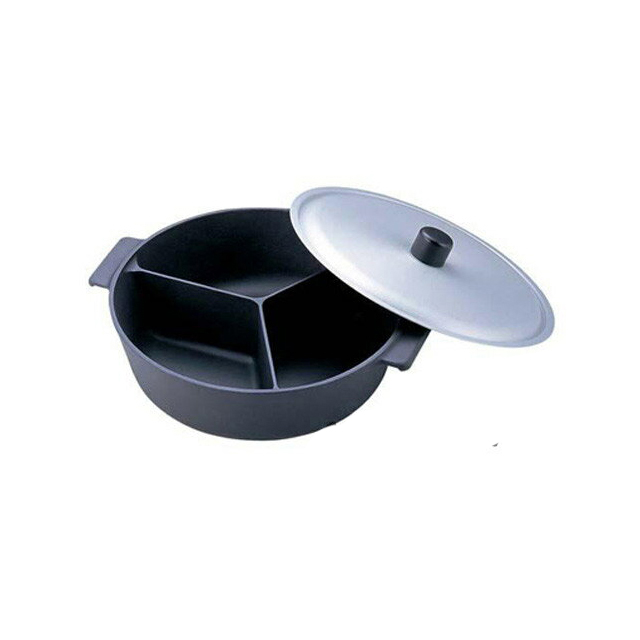 アルミ鍋のなべ 3槽式 フタ付き 30cm(フッ素加工) (6-1928-0201) [業務用 大量注文対応][送料無料]