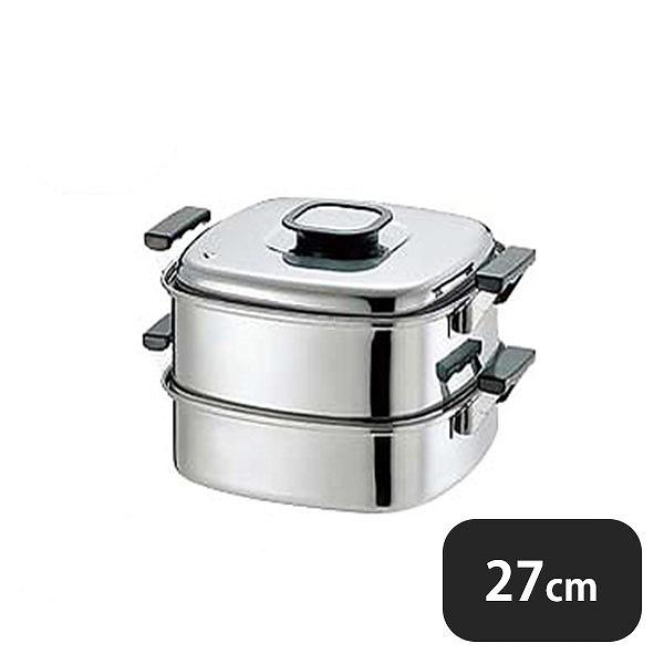 【送料無料】PE 18-0角蒸器 2段27cm(045032)業務用