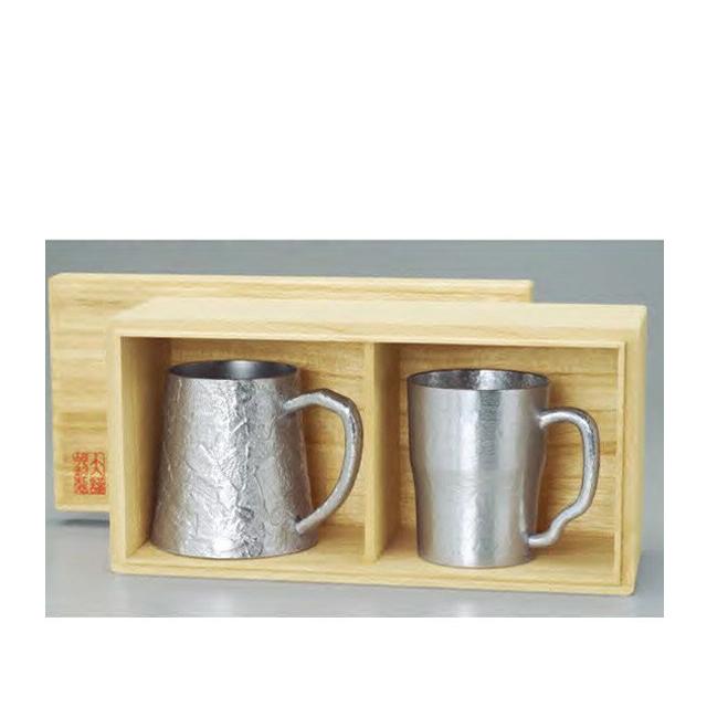 【送料無料】大阪錫器 ジョッキセット(29-2)和風 迎春 ハンドメイド 伝統 工芸 日本製 ギフト