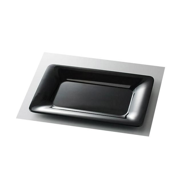 【送料無料】カーライル パレットデザイナー ワイドリムレクタングルプラター 43cm ブラック 4個入(CR-3691)CARLISLE 割れない食器 プレート お皿