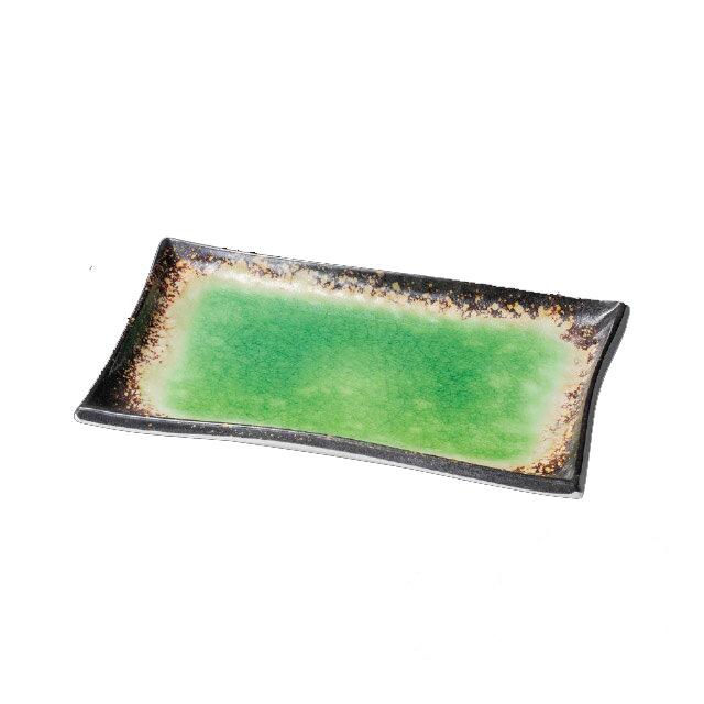和美作日 Wabisabi 耐熱黒緑水長角皿 中 3個セット (i2-007-05)(業務用)