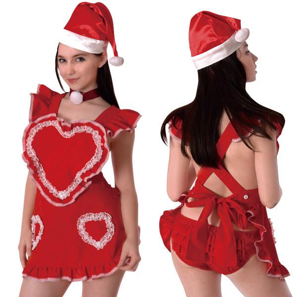 サンタハートエプロン コスプレ クリスマス サンタ サンタコス サンタクロース セクシー 大人 コスチューム キャバ ギャル 衣装 可愛い パーティー イベント 仮装