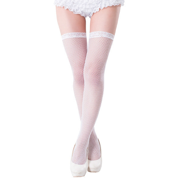 047573796 White knee high stockings of the mesh place. It is congenial to underwear  and costume play clothes