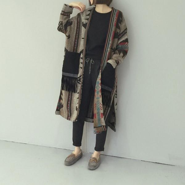 アジアンデザイン カーディガン ロング ジャケット ファッション アパレル インポート セレクト スタイル デザイン 海外 韓国ファッション レディース