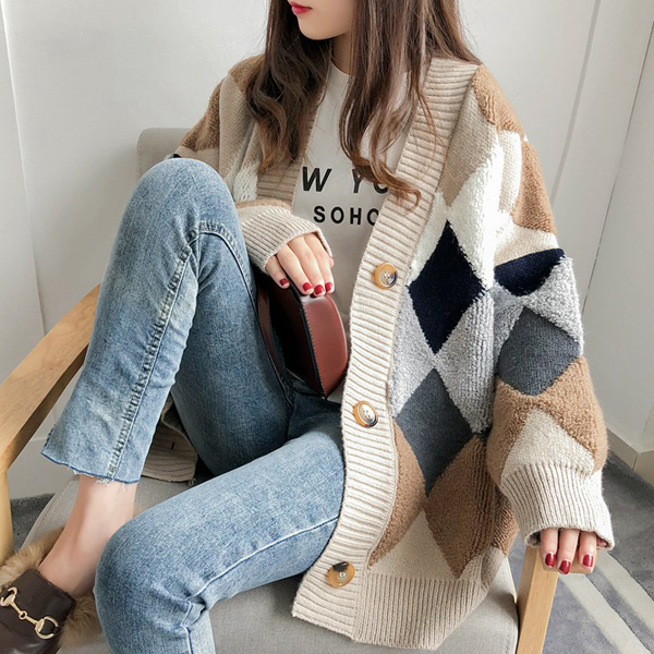 ダイヤ柄もこもこカーディガン ファッション アパレル インポート セレクト スタイル デザイン 海外 韓国ファッション レディース