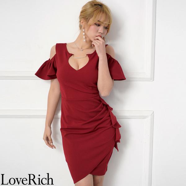 Love Rich サイドフリルセクシーミニドレス パーティードレス キャバドレス ワイン ナイトドレス キャバ ギャル パーティー コンパニオン セクシー 韓国ファッション 可愛い イベント 衣装