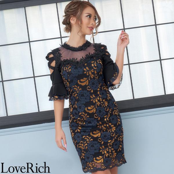 Love Rich クロスデザインカット シースルー レースミニドレス キャバドレス ブラックマスタード ナイトドレス キャバ ギャル パーティー コンパニオン セクシー 韓国ファッション 可愛い イベント 衣装