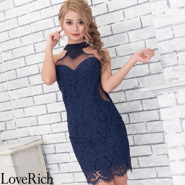 Love Rich シースルー レース ミニドレス キャバドレス パーティードレス キャバドレス ネイビー ナイトドレス キャバ ギャル パーティー コンパニオン セクシー 韓国ファッション 可愛い イベント 衣装