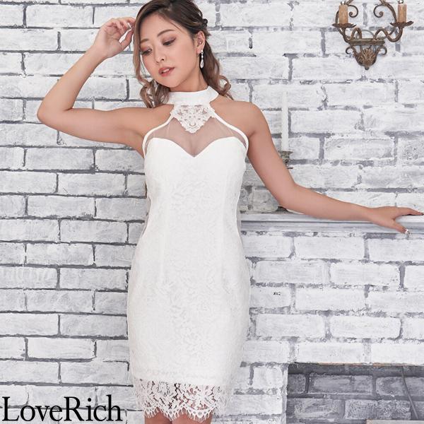 Love Rich シースルー レース ミニドレス キャバドレス パーティードレス キャバドレス ホワイト ナイトドレス キャバ ギャル パーティー コンパニオン セクシー 韓国ファッション 可愛い イベント 衣装
