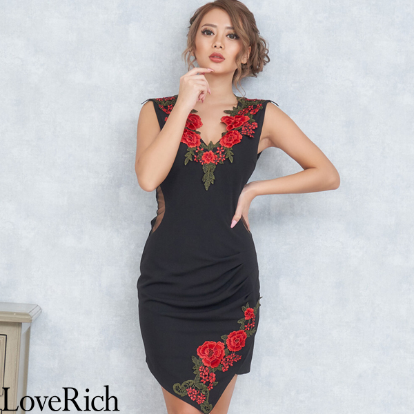Love Rich ゴージャス刺繍レースミニドレス パーティードレス キャバドレス ブラック ナイトドレス キャバ ギャル パーティー コンパニオン セクシー 韓国ファッション 可愛い イベント 衣装