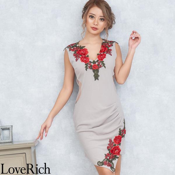 Love Rich ゴージャス刺繍レースミニドレス パーティードレス キャバドレス グレー ナイトドレス キャバ ギャル パーティー コンパニオン セクシー 韓国ファッション 可愛い イベント 衣装