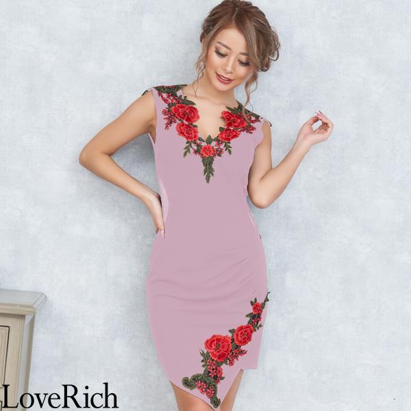 Love Rich ゴージャス刺繍レースミニドレス パーティードレス キャバドレス ピンク ナイトドレス キャバ ギャル パーティー コンパニオン セクシー 韓国ファッション 可愛い イベント 衣装