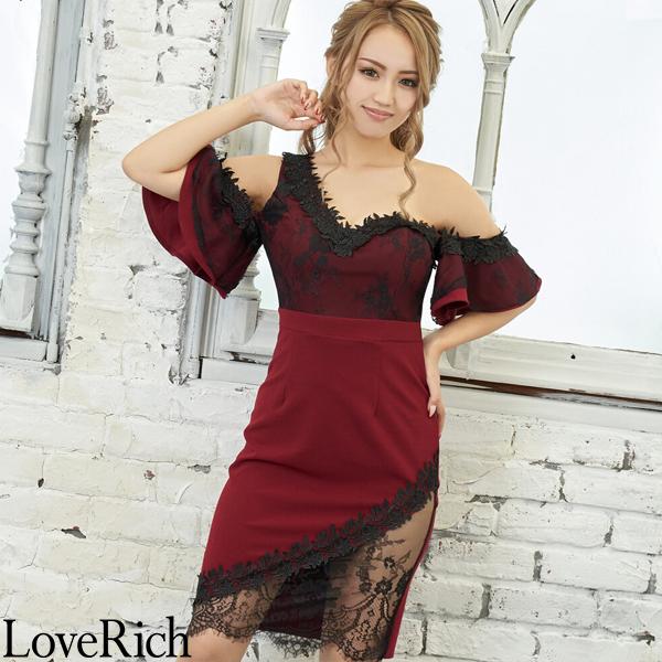 Love Rich セクシーレースミニドレス パーティードレス キャバドレス ワイン ナイトドレス キャバ ギャル パーティー コンパニオン セクシー 韓国ファッション 可愛い イベント 衣装
