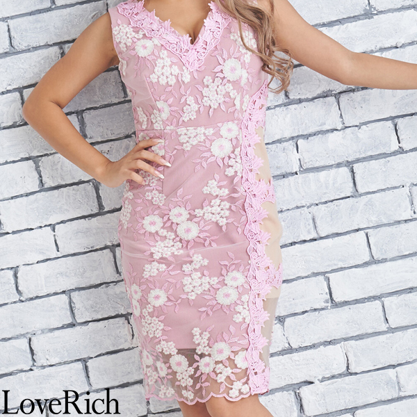 Love Rich 花柄サイドセクシーレースミニドレスパーティードレス キャバドレス ピンク ナイトドレス キャバ ギャル パーティー コンパニオン セクシー 韓国ファッション 可愛い イベント 衣装