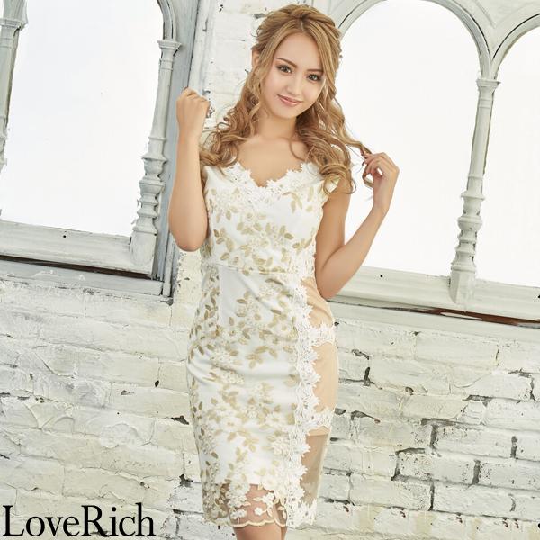 Love Rich 花柄サイドセクシーレースミニドレスパーティードレス キャバドレス ホワイト ナイトドレス キャバ ギャル パーティー コンパニオン セクシー 韓国ファッション 可愛い イベント 衣装