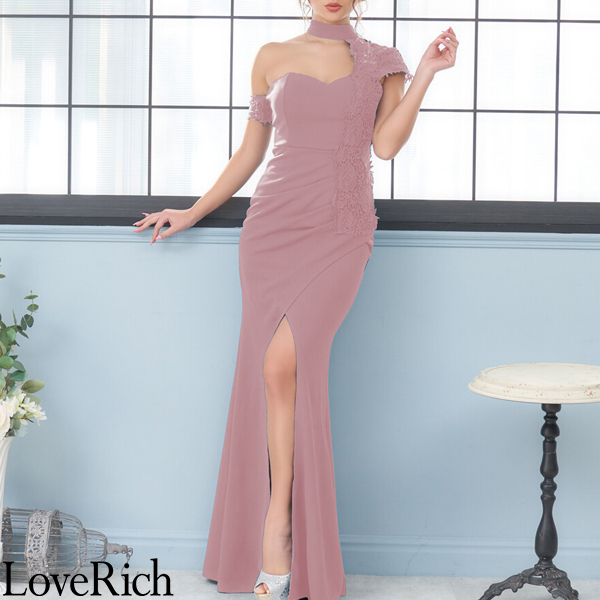 Love Rich ワンショルダー レース 大胆スリット ロングドレス キャバドレス ピンク ナイトドレス キャバ ギャル パーティー コンパニオン セクシー 韓国ファッション 可愛い イベント 衣装